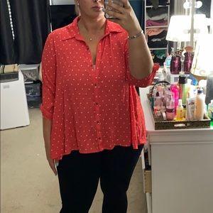 Pink polka dot button up shirt